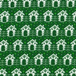 Christmas Fun Fabric | Festive Houses Green