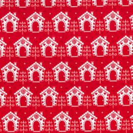 Christmas Fun Fabric | Festive Houses Red