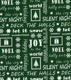Christmas Fun Fabric | Happy Holidays Green