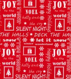 Christmas Fun Fabric | Happy Holidays Red