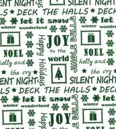 Christmas Fun Fabric | Happy Holidays Green Reverse