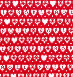 Christmas Fun Fabric | Noel Hearts Red