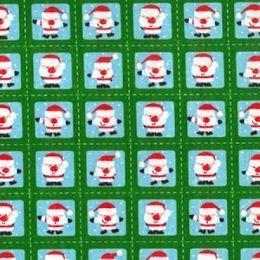 Christmas Fun Fabric | Santa Squares Green