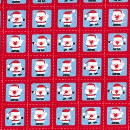 Christmas Fun Fabric | Santa Squares Red