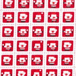 Christmas Fun Fabric | Santa Squares White