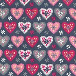 Cotton Print Fabric | Daisy Heart Grey