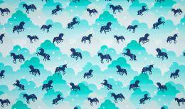 Jersey Cotton Print | Unicorn Clouds Mint
