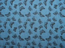 Printed Denim Multi Butterfly
