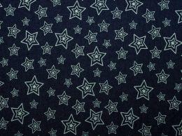 Denim Fabric Print   Concentric Stars Dark Blue