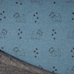 Luxury Sweatshirt Fabric   Blue Melange Scottie Dog