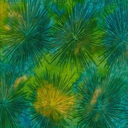 Batik Fabric Design Colour Explosion Green