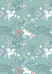 Fairy Nights Fabric | Unicorn Meadow Soft Teal