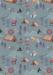 Viking Adventure Fabric | Viking Village Blue Grey