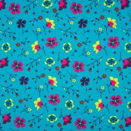 Jersey Cotton Fabric   Folk Floral - Flowers
