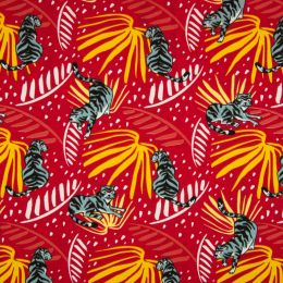 Jersey Cotton Fabric | Tiger Red