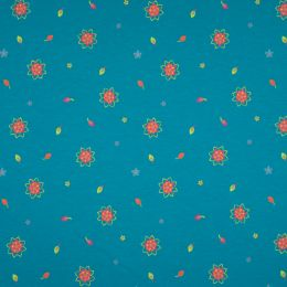 Jersey Cotton Fabric | Flower Turquoise