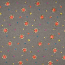 Jersey Cotton Fabric | Flower Grey
