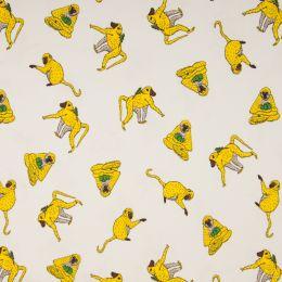 Jersey Cotton Fabric | Monkey White