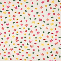 Jersey Cotton Fabric | Flowers White