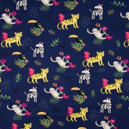 Jersey Cotton Fabric | Jungle Navy