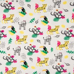 Jersey Cotton Fabric | Jungle White