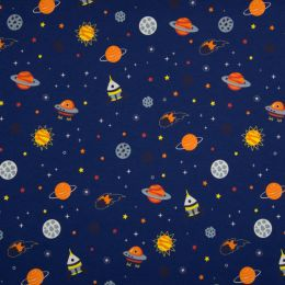 Jersey Cotton Fabric | Galaxy Navy