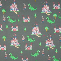 Jersey Cotton Fabric | Dragons Grey