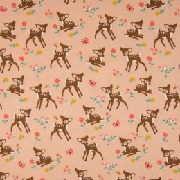 Jersey Cotton Fabric | Baby Deer Salmon