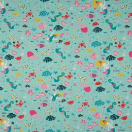Jersey Cotton Fabric | Sea Life Turquoise