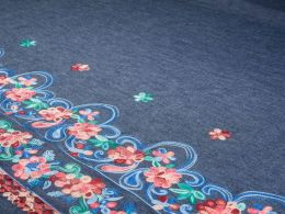 Embroidered Denim Fabric Border   Floral Frieze