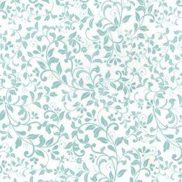 Floral Blender Fabric   Aqua on Ivory