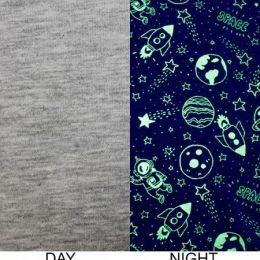Glow In The Dark Jersey Fabric | Space Grey