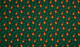 Jersey Cotton Fabric | Christmas Bells Green