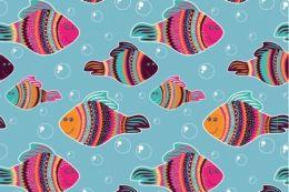 Jersey Cotton Print   Fishy Bubbles