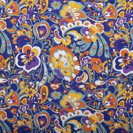 Jersey Cotton Print | Vibrant Floral Blue