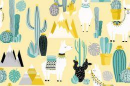 Jersey Cotton Print   Highland Lama Yellow
