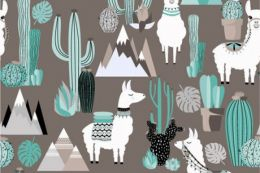 Jersey Cotton Print | Highland Lama  Natural