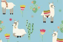 Jersey Cotton Print   Lama Light Petrel
