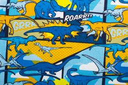 Jersey Cotton Print | Dino Roar - Royal
