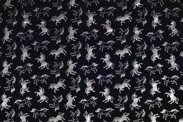 Jersey Cotton Metallic | Foil Unicorns Navy