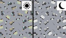 Light Reactive Jersey Fabric | Cars & Busses Grey