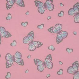 Light Reactive Jersey Fabric | Glitter Butterfly Pink