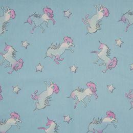Light Reactive Jersey Fabric | Glitter Unicorn Blue