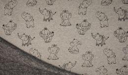 Luxury Sweatshirt Fabric | Grey Melange Elephant
