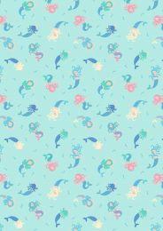 Mystical & Magical Fabric | Mermaids Light Blue with Gold Metallic