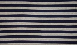 Ribbed Jersey Fabric | 2cm Stripe Dark Navy