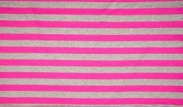 Ribbed Jersey Fabric | 2cm Stripe Pink