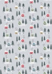 Snow Day Fabric   Christmas Houses Silver