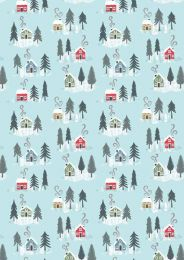 Snow Day Fabric | Christmas Houses Icy Blue