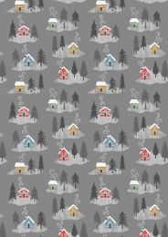 Snow Day Fabric | Christmas Houses Grey